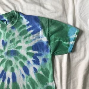 Vintage Tops - Vintage Hand Tie Dyed Blue and Green Tee